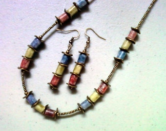 Blue, Olive and Red Necklace and Earrings (1285)