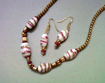Gold, Pink and White Necklace and Earrings (0588)