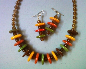 Multicolor Earth Tone Neckalce and Earrings (0418)