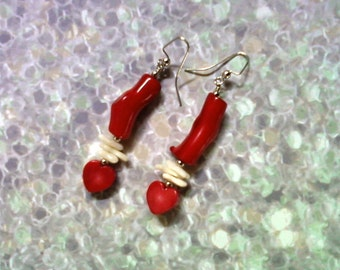 Red and White Coral Heart Earrings (1557)