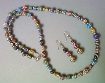 Multicolor Ethic Inspired Necklace and Earrings (1008)