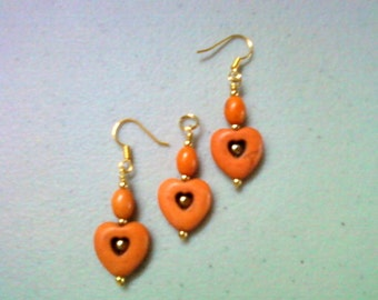Orange Heart Pendant and Earrings (0630)