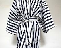 70s striped kimono bell sleeve long maxi cotton 1970s vintage robe asian oriental womens house home lounge wear wrap waist tie striped M L