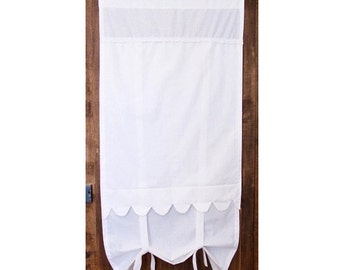 "Tall French Door Curtain, Long Bedroom Curtain,  White Scallop Curtain,  76"" Length, French Shabby Chic"