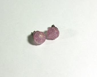 Pink Flower Bead Stud Earrings - girls jewelry - dress up, play earrings