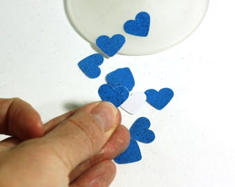 Little Peacock Blue Glitter Hearts - Table Scatter confetti - Cardstock Hearts - .5 inch hearts - Wedding and Party Decoration