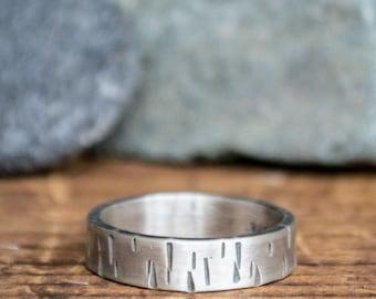 Birch Bark Ring - Men's Textured Silver - Men's Rustic Wedding Band - Oxidized Wedding Band - Men's Personalized Ring - Boyfriend Gift