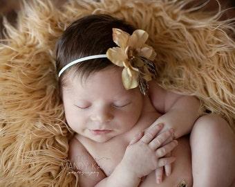 Baby Flower Headband, Champagne Flower Headband, Newborn Headband, Infant Headbands, Baby Headband, Baby Girl Photo Prop, Baby Shower Gift