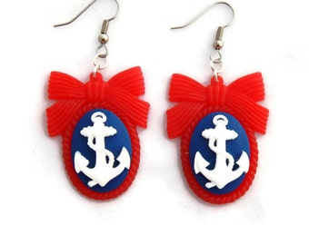 Nautical Anchor Cameo Earrings in Red, White and Blue - Rockabilly, Pinup, Retro, Vintage Style
