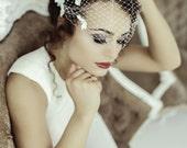 Birdcage Veil with Flowers, Bandeau Birdcage Veil, Wedding Mini Veil, Small Bridal Veil, Blusher Veil