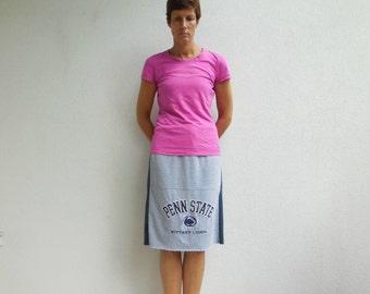 Penn State T Shirt Skirt Womens T-Shirt Skirt Nittany Lions Blue Gray Eco Friendly Skirt Knee Length Skirt Recycled Skirt Autumn Fall ohzie
