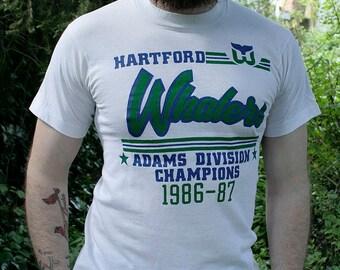 1986-87 Hartford Whalers - NHL/WHA Pro Ice Hockey - Adams Division Champions - 50/50 unisex t-shirt - men's sz S/M