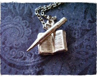 Silver Writer's Necklace - Silver Pewter Open Book and Pencil Charms on a Delicate Silver Plated Cable Chain or Charms Only