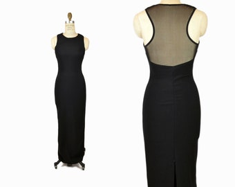 Vintage 90s Black Mesh-Back Maxi Dress / Black Party Gown - xs/small