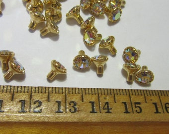 20 Swarovski Rhinestones in CrystalAB, PRONGED w STEM, craft supplies, Glueing as centers, jewelry findings, supplies
