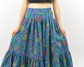 Vintage Frida Kahlo Inspired Midi Skirt, Size XS-Small, Ruffles, Blue, Floral, High Waisted