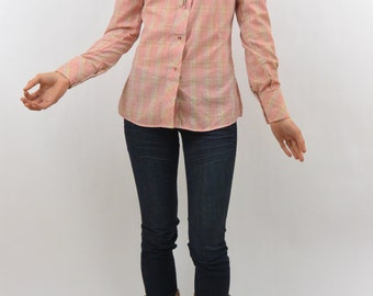 Vintage Pink Fitted Country Western Blouse, Size XS, Size Zero, Country Girl, Rustic, Snap Buttons