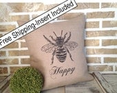 French Bee Happy - Throw Pillow - Insert Included - FREE SHIPPING