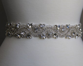 16 in to 35 in beaded rhinestone applique, trim, bridal sash, wedding sash, bridal headband, wedding headband,  bridal belt, rhinestone belt