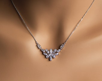 Wedding jewelry, bridal jewelry, Cubic zironia cz jewelry, cz necklace, bridal necklace, wedding necklace, bridesmaid necklace