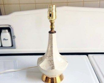Mid Century Gold Speckle Ceramic Lamp / Gold on Cream