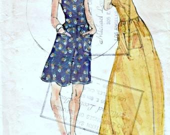 1970s Designer John Kloss Sundress Pattern  BUTTERICK 3703  Vintage Sewing Pattern  Semi-Fitted Low-Waisted Summer Dress  Bust 36