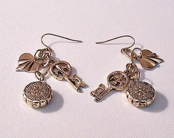 Three Charm Chain Dangle Pierced Wire Earrings Gold Tone Vintage Oval Links Wavy Hearts Fleur De Lis Skeleton Keys Round Textured Buttons