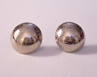 Frosted Disc Buttons Pierced Post Stud Earrings Silver Tone Vintage Domed Round Textured Reflective Beads
