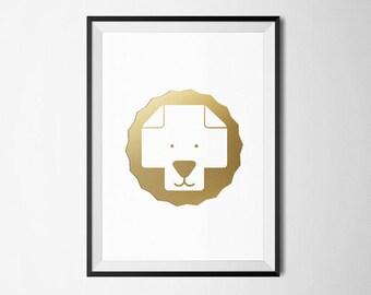 Gold Foil Kids Poster / Minimalist Nursery Poster / Lion Wall Art / Swiss Cross Poster / Nordic Print / Scandinavian Decor