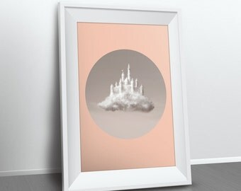 Clouds Photography / Geometric Print / Kids Room Print / Nursery Decor / Castle Clouds / Minimalist Children Wall Art / Girls Room