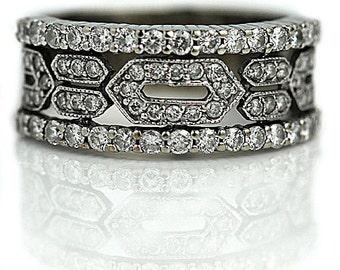 Art Deco Wedding Band Antique Filigree Ring 14K White Gold Wedding Band Antique Wedding Ring Vintage Diamond Ring Size 5.5!