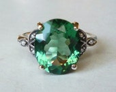 RESERVED for Candace // Gorgeous Green Emerald Seed Pearl Sterling Silver Antique Style Ring Size 7.75  Victorian Edwardian Art Nouveau Deco