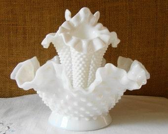 VINTAGE FENTON Milk Glass 4 Piece Epergne Vase HOBNAIL Milk Glass 3 Horn Epergne Wedding Centerpiece Mid Century Modern White Milk Glass