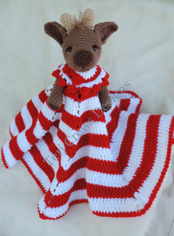 Knitting Pattern For Lovey Blanket : Reindeer Huggy Blanket Crochet Pattern Baby Blanket Softie