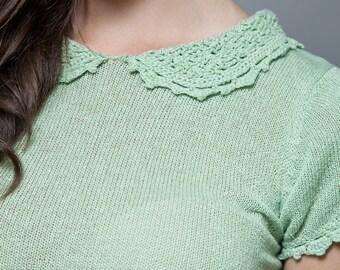SALE -- vintage 70s Pierre Balmain sweater skirt set green crochet Peter Pan collar S M