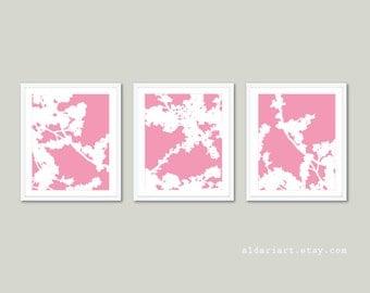 Modern Cherry Blossoms Art Prints - Set of 3 - Pink and White Flowers - Modern Flowers Wall Art - Baby Girl Nursery Art