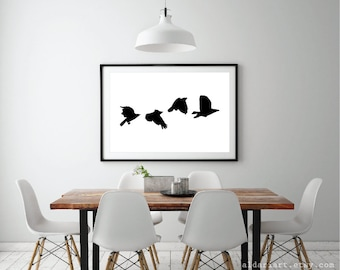 Crows Art Print - Black Birds Wall Art - Modern Birds - Minimalist Birds - Large Print - 24x36 Art Print - Aldari Art