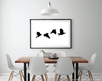 Birds Wall Art black bird | etsy