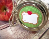 Cute Apple Canning jar labels, 2 inch round stickers for mason jars, for fruit preservation, regular or wide mouth available