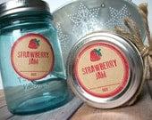 Rubber Stamp Strawberry Jam Kraft paper canning jar labels, round red mason jar stickers for fruit preservation, rustic jam jar label