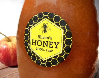Custom Beehive canning jar and bottle labels, personalized elegant black Honey Bee stickers for honey jars, customized honey labels