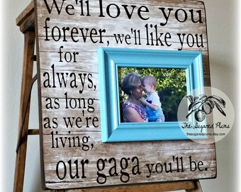 Mothers Day Frame, I'll Love You Forever, Grandma Gift Frame, Grandparents Day, Grandmother, MiMi, Nana 16x16 Personalized Picture Frame