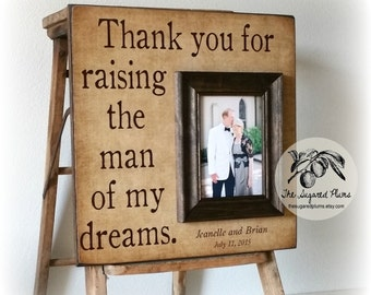 Mother of the Groom Gift, Personalized Picture Frame, Thank You For Raising The Man Of My Dreams, 16x16  The Sugared Plums Frames