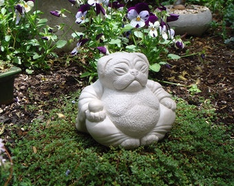 Zen PUG Dog Buddha Garden Art Statue Sculpture by Tyber Katz