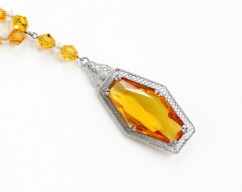 Sale - Antique Art Deco Simulated Citrine Filigree Beaded Pendant Necklace - Vintage 1920s Silver Tone Yellow Orange Glass Costume Jewelry