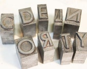 "Small 5/8"" Print Press Letters, Metal Letter Press, Upper Case, Vintage"