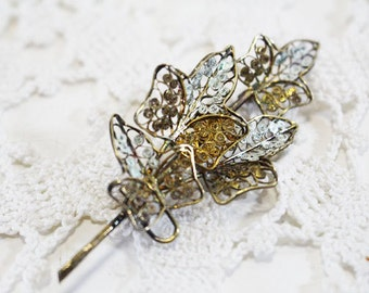 Gold and Silver Lace Leaves Vintage Brooch, Vintage Pin      - E
