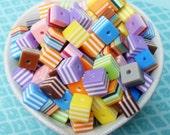 100x 8mm Multicolour Cube Beads Stripe