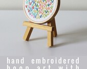 Small Embroidered Hoop Art. Wishbone Stitch. Rainbow Colorful Hand Embroidery. Abstract Art. Textile Wall Hanging. Small Space Shelf Art