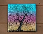 Sunset Art Tree Garden Gift Sculpture, Tree Garden Art Stone, Outdoor Wall Art, Tree Silhouette Wall Plaque, Yard Art